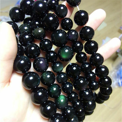 AAA  natural 6-20MM Black Agate Onyx Round Loose Beads Gemstone15''Rainbow eye