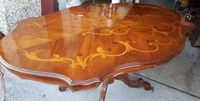 Antique Style Walnut Dining Table On A Pedestal Base With A Marquetry Inlay Top