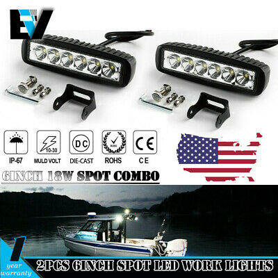 2x 6INCH 36W CREE LED WORK LIGHT BAR SPOT OFFROAD ATV FOG TRUCK LAMP 4WD 12V 6""