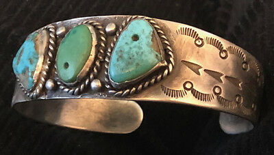 Important 1930s Hand Constructed Pump Drilled 3 Turquoise Hand Stamped Bracelet