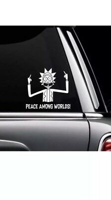 """Rick And Morty Peace Among Worlds Sticker Decal Car Truck Window Bumper 5.5"""""""