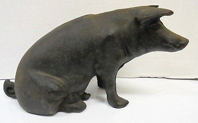 "Vintage Cast Iron Sitting Pig Piggy Bank Door Stop 10"" One Ear has Old Damage"