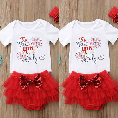 Infant Baby Girl My First 4th of July Outfit Romper+Tutu Pants+Headband 3PCS SET