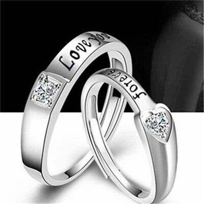 6704fc67c1 1Pair Silver Lovers Romantic Heart Crystal Couple Rings Her and His Promise  Ring