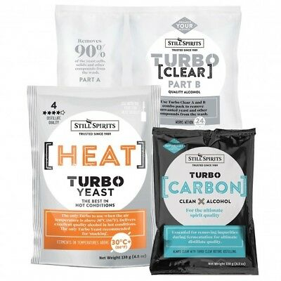 Still Spirits Brew Pack Turbo Heat Yeast, Carbon And Clear X4 Of Each