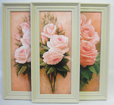 New French Provincial Country Framed Pink Rose Print with Ornate Cream Frame