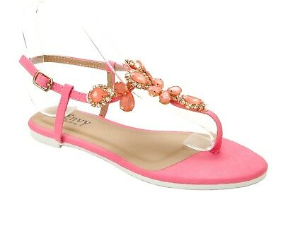 ceb0d20a4551 Womens Pink Diamante Toe Post Summer Beach Flat Sandals Ladies Uk Size 3-8
