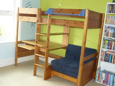 Stompa High Sleeper Cabin Bed Futon Style Pull Out Desk Shelving