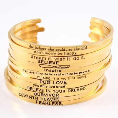Women Stainless Steel Engraved Positive Inspirational Quote Cuff Bracelet Mantra