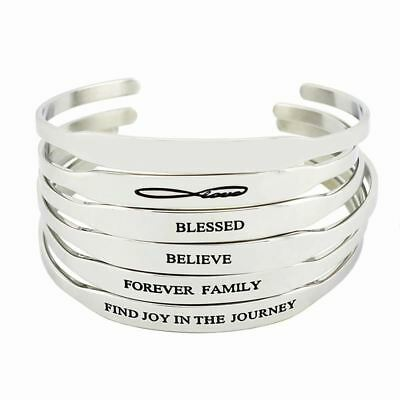 Men's Fashion Stainless Steel Bar Engraved Positive Inspirational Quote Cuff Man