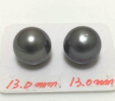 Good quality 13mm Tahitian black south sea pearl loose for earring