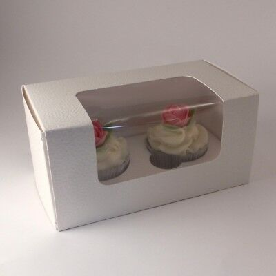 Premium cream / ivory embossed cupcake boxes for 2 cupcakes: Pack of 10