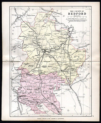 COUNTY OF BEDFORD 1891 George Philip & Son ANTIQUE MAP