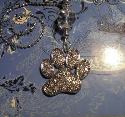 Large Rhinestone Dog Paw Ceiling Fan Pull~*Hook on Chain Fan/Lamp/Auto Mirror*~