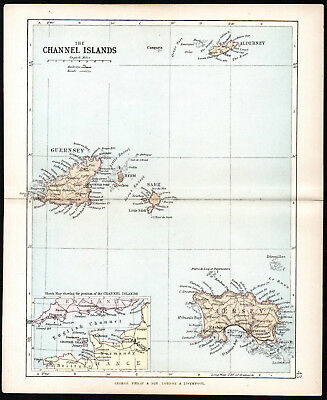 CHANNEL ISLANDS 1891 Guernsey - Jersey - George Philip & Son ANTIQUE MAP
