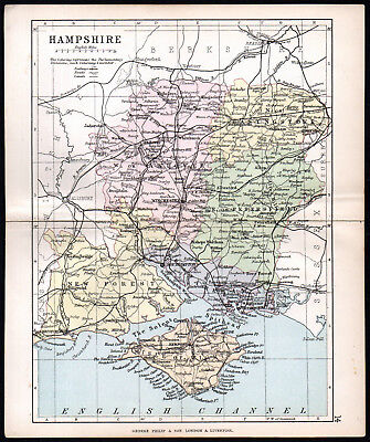 COUNTY OF HAMPSHIRE 1891 George Philip & Son ANTIQUE MAP