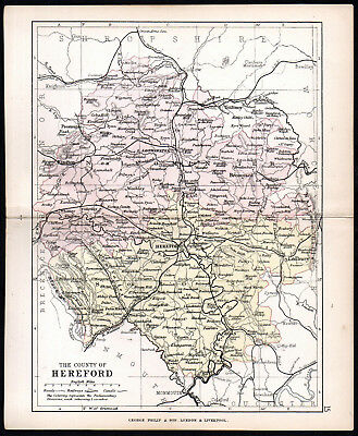 COUNTY OF HEREFORD 1891 George Philip & Son ANTIQUE MAP