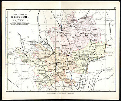 COUNTY OF HERTFORD 1891 George Philip & Son ANTIQUE MAP