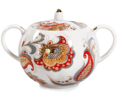 Sugar Bowl Porcelain Hand Painted in Russia 20 fl oz Russian Motifs Pattern