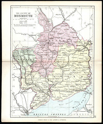 COUNTY OF MONMOUTH 1891 George Philip & Son ANTIQUE MAP
