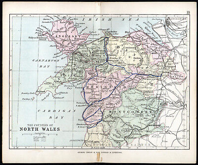 COUNTIES OF NORTH WALES 1891 George Philip & Son ANTIQUE MAP