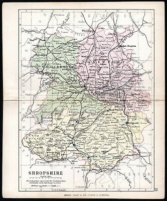COUNTY OF SHROPSHIRE 1891 George Philip & Son ANTIQUE MAP