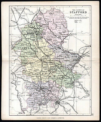 COUNTY OF STAFFORD 1891 George Philip & Son ANTIQUE MAP