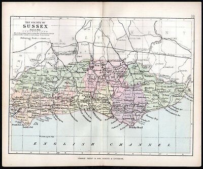 COUNTY OF SUSSEX 1891 George Philip & Son ANTIQUE MAP