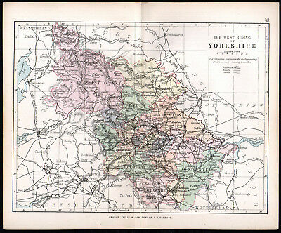 WEST RIDING OF YORKSHIRE 1891 George Philip & Son ANTIQUE MAP