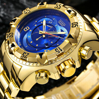 TEMEITE 2018 Mens Fashion Big Dial Quartz watch Luxury Gold Blue Full Steel New