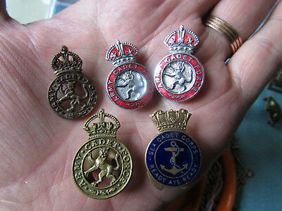 VINTAGE ARMY CADET FORCE and SEA CADET CORPS enamel badges etc
