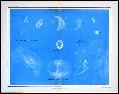 NEBULAE - ASTRONOMY 1856 Alex Johnston ANTIQUE CHART