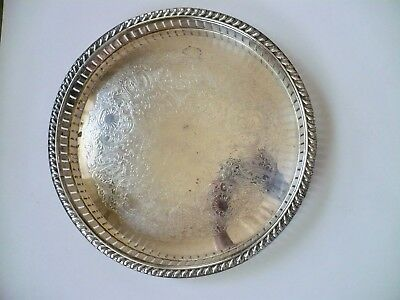 """Vintage LB 10"""" Silver Plated Round Gallery Cocktail Tray with 3 Bun Feet Pressed"""