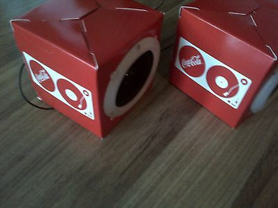 Coca-Cola mini speakers. Headphone connection No wall plug or batteries required