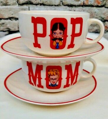 Vintage Crooksville China Co Set Of USA Mom And Pop Mugs/Soup Bowls With Saucers