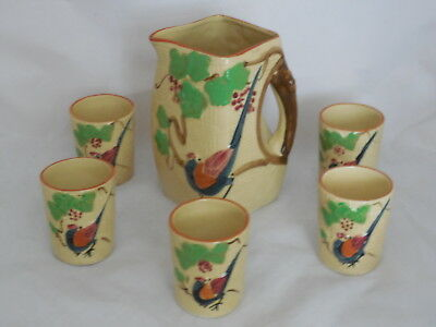 Vintage Pottery Japan Pitcher 5 Tumblers Cups Basket Weave Bird Majolica Style
