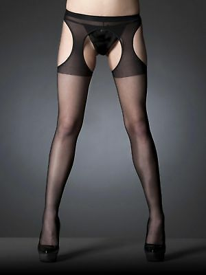 Sexy Black Glossy Stocking Pantyhose Tight Crotchless Hosiery tights suspender