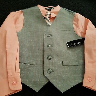 Boys Size 6 George Dress Shirt Tie and Vest