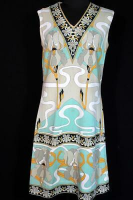 Rare French Vintage 1970's-1980's Colorful Mod Dino Print Poly Knit Dress Size 8