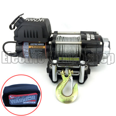 Warrior Ninja 2500lb 24v Winch with Steel Cable & Winch Cover