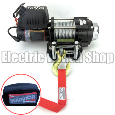 Warrior Ninja 3500lb 12v Winch with Steel Cable & Winch Cover
