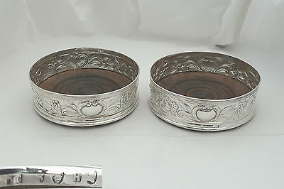 RARE PAIR of GEORGE III HM STERLING SILVER WINE COASTERS 1803
