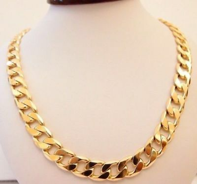 "MENS HEAVY CHAIN 12.5MM 18K Gold Filled Men's Necklace 22-45"" Chain 95-190g"