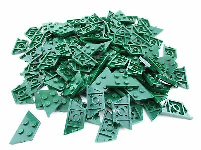 Lego 100 New Dark Green Wedges Plates 2 x 4 Dot Pieces Parts