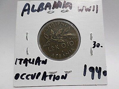 Albania 1940 Coin, 0.10 Lek, Wwii Italy Occupation. Free Shipping Worldwide
