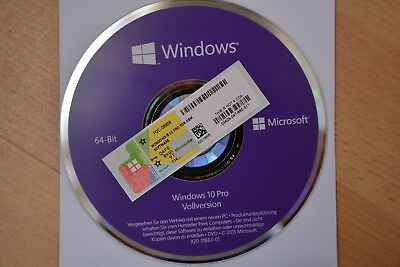 Windows 10 Professional 64Bit CD Vollversion + Lizenz Key Aktivierung Win 10 Pro