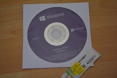 Windows 10 Pro 64 Bit DVD CD Hologramm Vollversion + Win 10 Professional Key