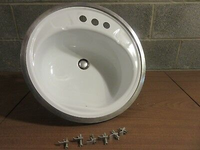 Vintage Round Bathroom Sink -- Metal White Gloss With Chrome Ring As Rim --