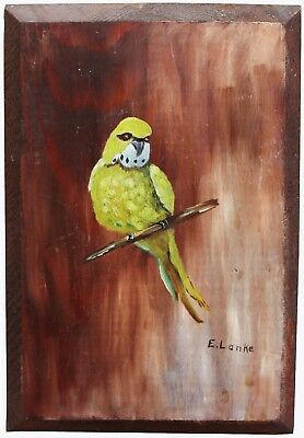 Green Bird Parakeet Budgie Perched Acrylic Painting On Wood E. Lanke