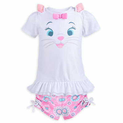 Disney Store Aristocats Marie Rash Guard & Swim Shorts Set Girls Size 3 4 5/6